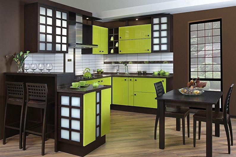 Cuisine verte de style japonais - Design d'intérieur