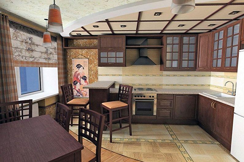 Conception de cuisine de style japonais - Finition de sol