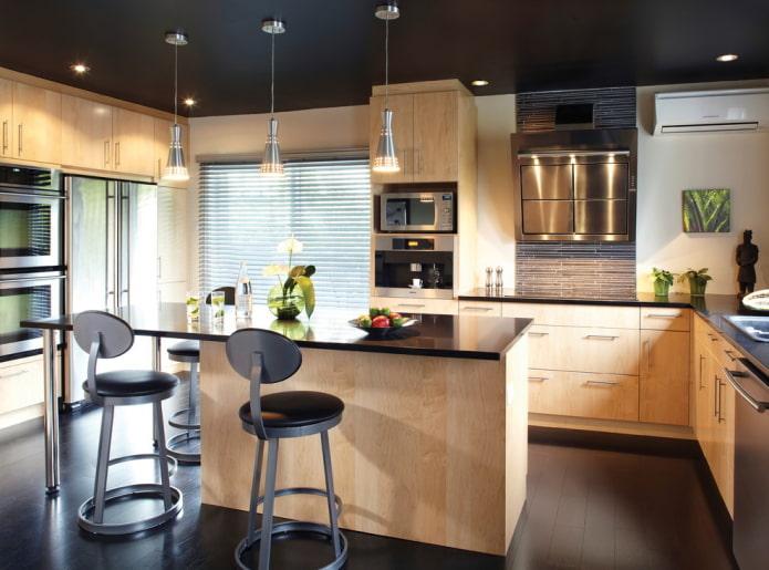 tissu extensible noir mat dans la cuisine
