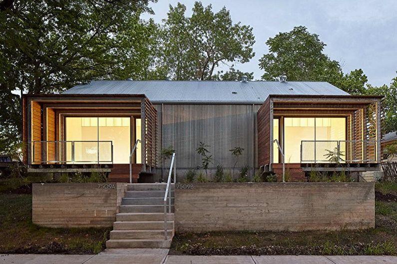 Projets modernes de maisons à un étage - Maison à un étage avec deux entrées