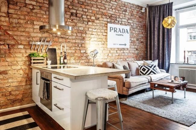 Décorer avec une cuisine-studio en brique décorative