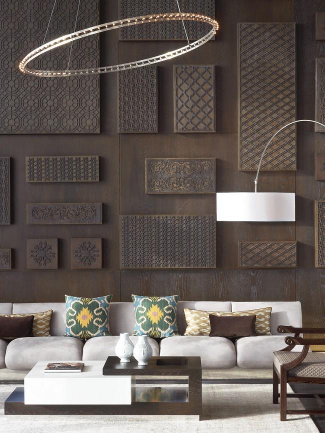 La mode moderne pour dessiner un intérieur de salon holistique suppose des contrastes de textures et des combinaisons inattendues