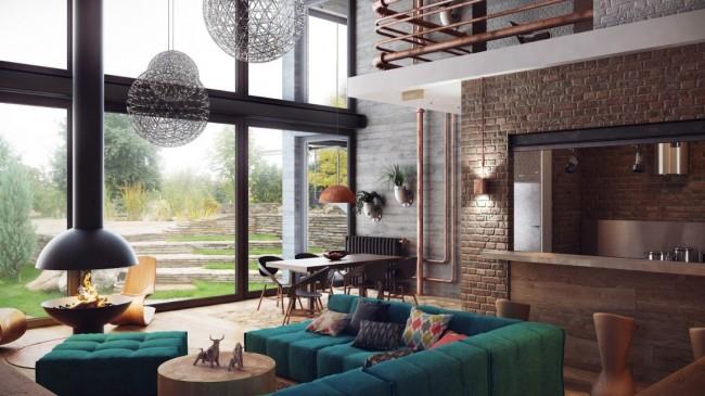 Meubles rembourrés pour le hall.  La composition des meubles dans le salon peut être construite autour de la cheminée, mais en même temps elle-même assez lumineuse et accrocheuse en raison de nuances saturées profondes