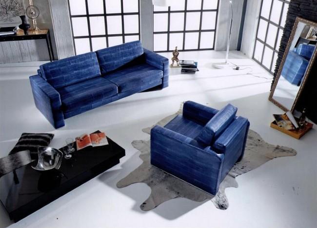 Meubles rembourrés pour le hall.  Les meubles recouverts de peau de poisson sont facilement reconnaissables : la peau ressemble à une peau de serpent et le rembourrage se compose de rayures irrégulières individuelles.  Sa couleur peut être n'importe laquelle, même la plus brillante.
