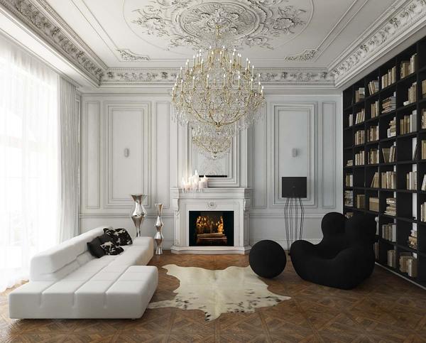 Meubles rembourrés pour le hall.  Mobilier noir et blanc : canapé futuriste et fauteuil légendaire de Gaetano Pesce