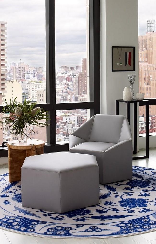 Meubles rembourrés pour le hall.  La forme géométrique des canapés, fauteuils et poufs peut aider à créer un intérieur holistique.