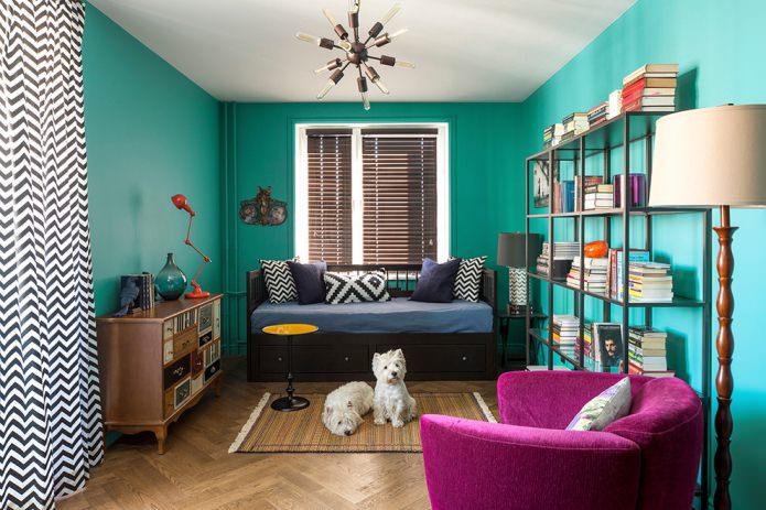 murs turquoise dans le salon