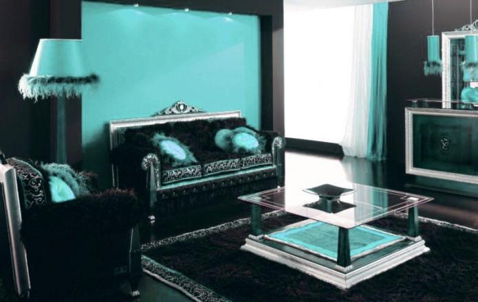 Salon noir et turquoise