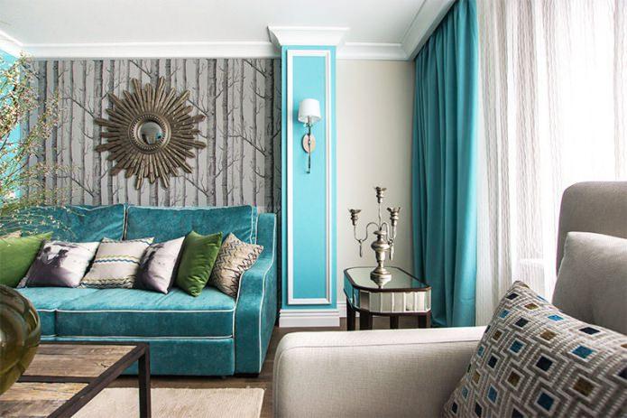 Salon gris-turquoise