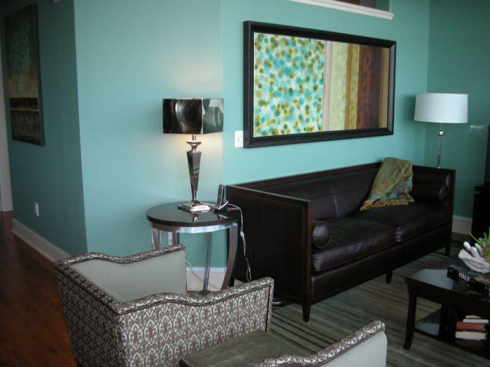 Salon marron turquoise