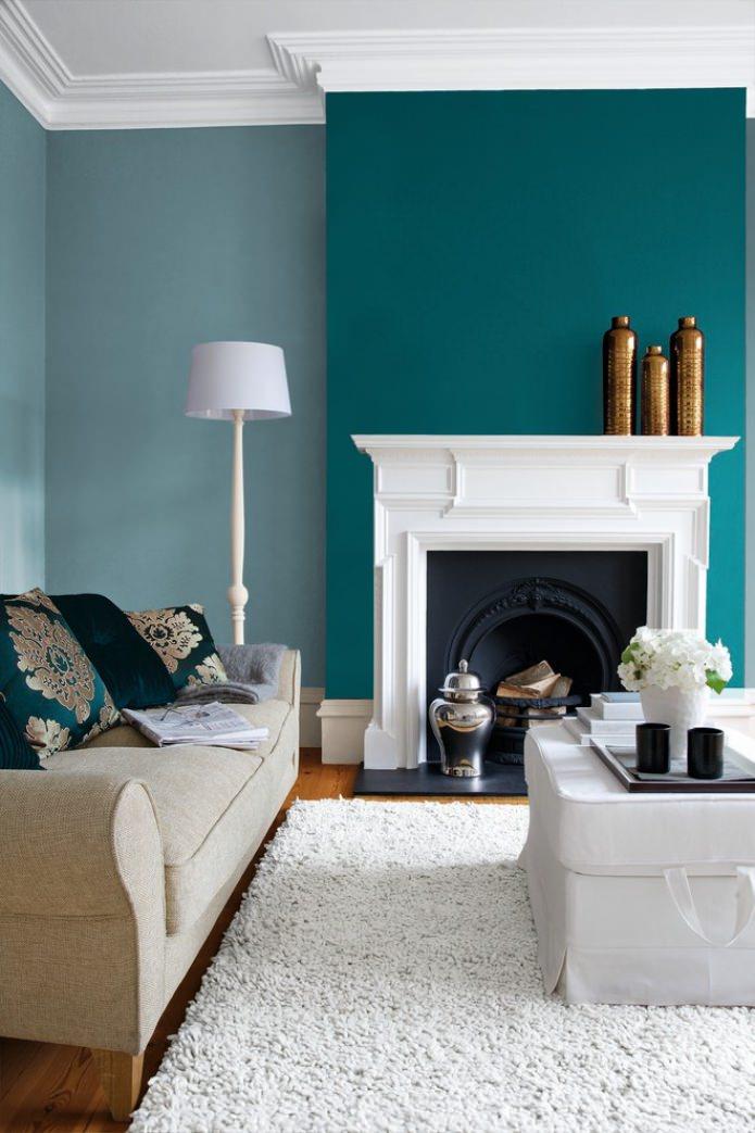 Salon blanc turquoise