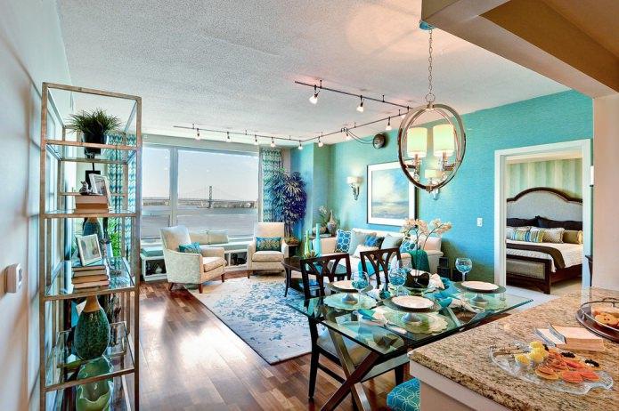salon aux couleurs turquoises