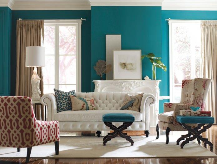 Décoration de salon aux couleurs turquoises