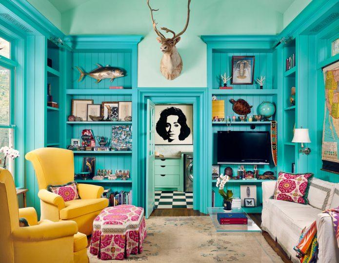 Salon jaune-turquoise