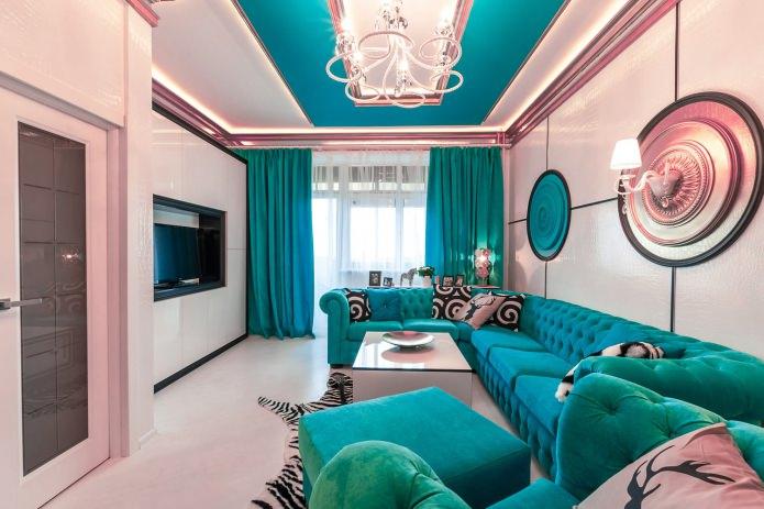 Salon rose turquoise