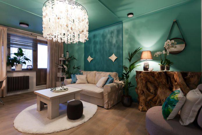 Salon beige et turquoise