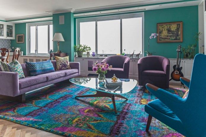Salon violet-turquoise
