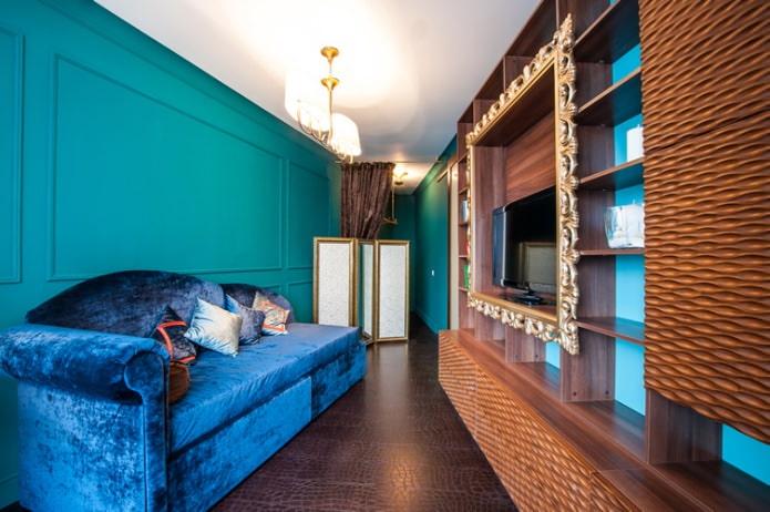Style classique dans un salon turquoise