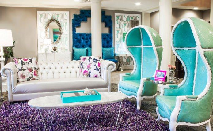 fauteuils turquoise