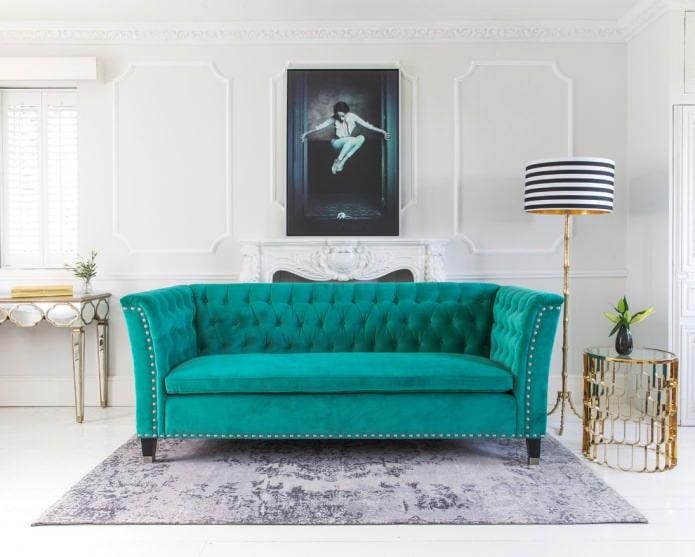 Canapé turquoise profond