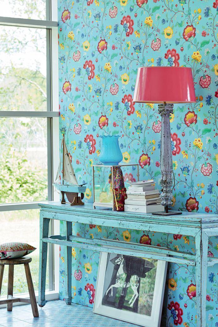 papier peint à fleurs turquoise