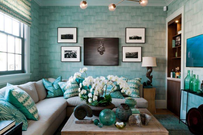 papier peint turquoise