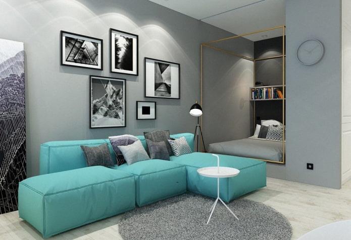 canapé modulable turquoise à l'intérieur