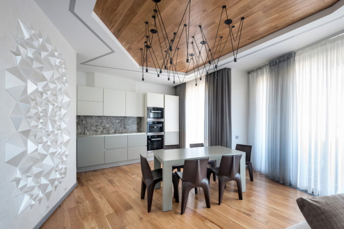 conception combinée à deux niveaux dans la cuisine