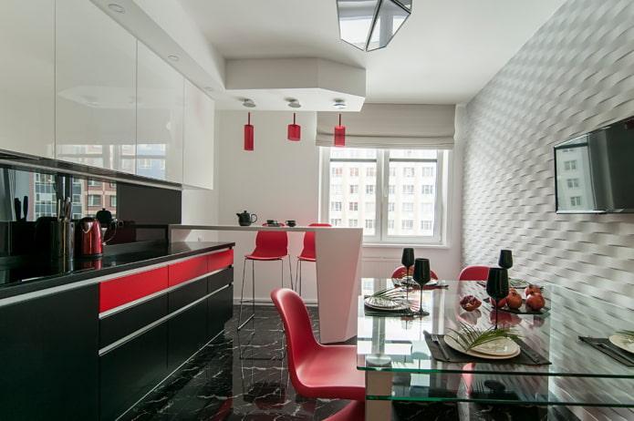 conception à deux niveaux avec un rebord dans la cuisine