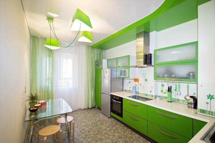design brillant à deux niveaux dans la cuisine
