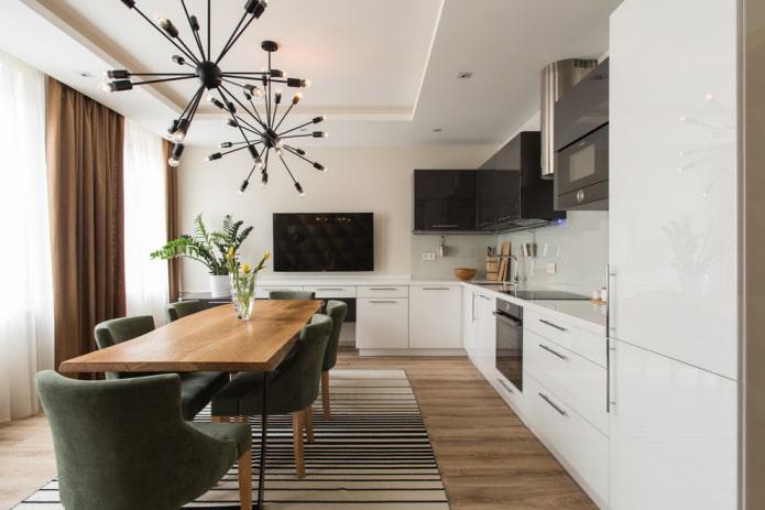 design mat à deux niveaux dans la cuisine