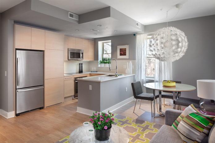 conception bicolore à deux niveaux dans la cuisine