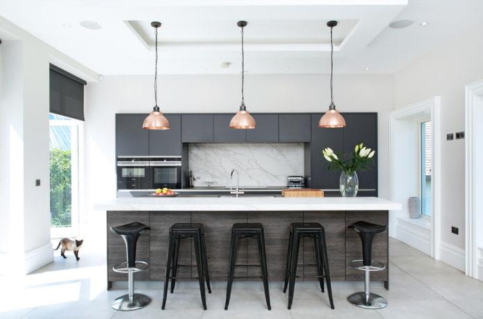 conception à deux niveaux en forme de rectangle dans la cuisine