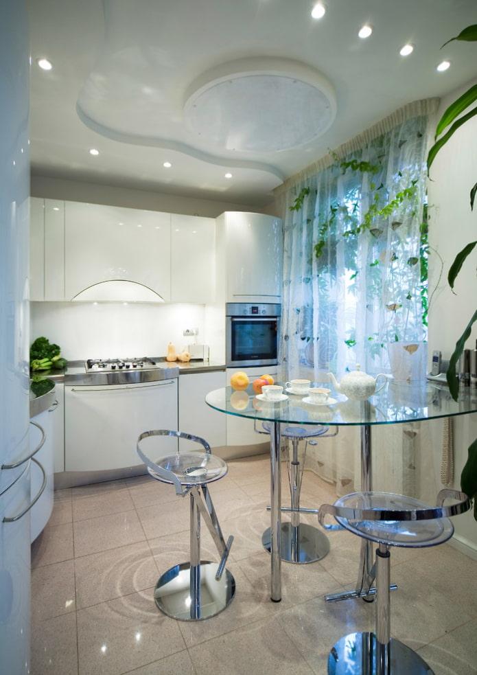 conception à deux niveaux en forme de vague dans la cuisine