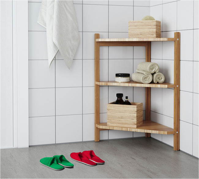 L'étagère d'angle est parfaite pour les petits espaces