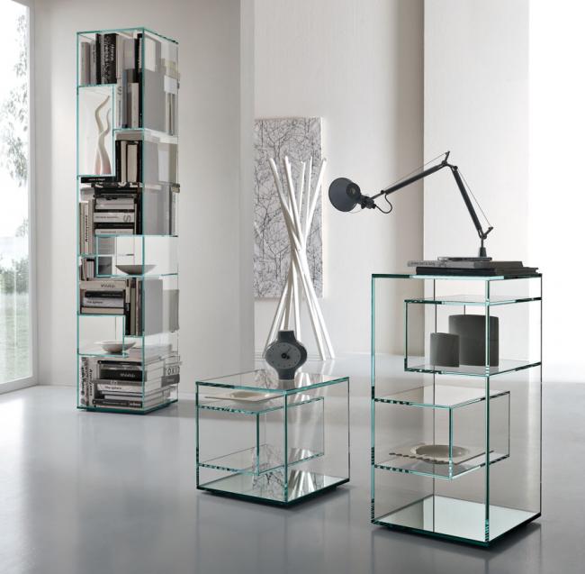 Etagères carrées en verre Art Nouveau