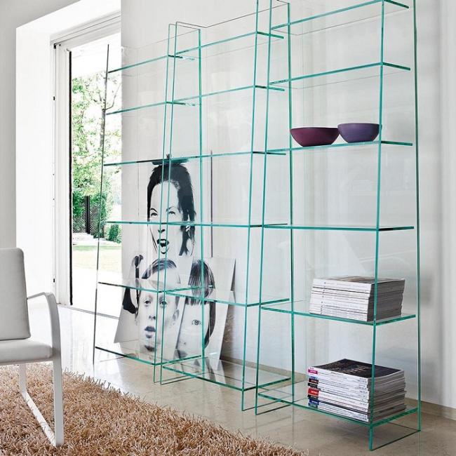 Étagère décorative inhabituelle en verre uniquement