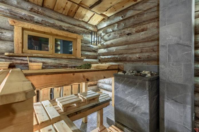 finition d'un bain à partir d'une maison en rondins