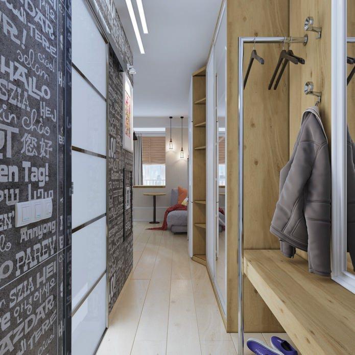 aménagement intérieur d'un petit appartement de 18 m².  m.
