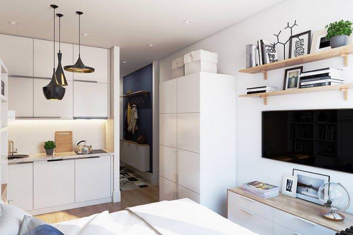 Conception compacte d'un appartement de 19 m².  m.