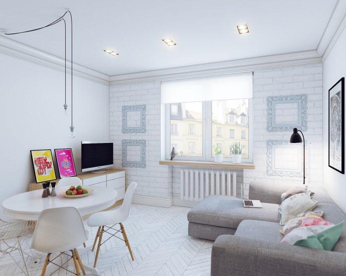Design scandinave d'un petit studio de 24 m².  m.