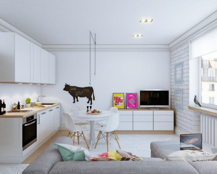 Aménagement intérieur d'un petit appartement de 24 m².  m.