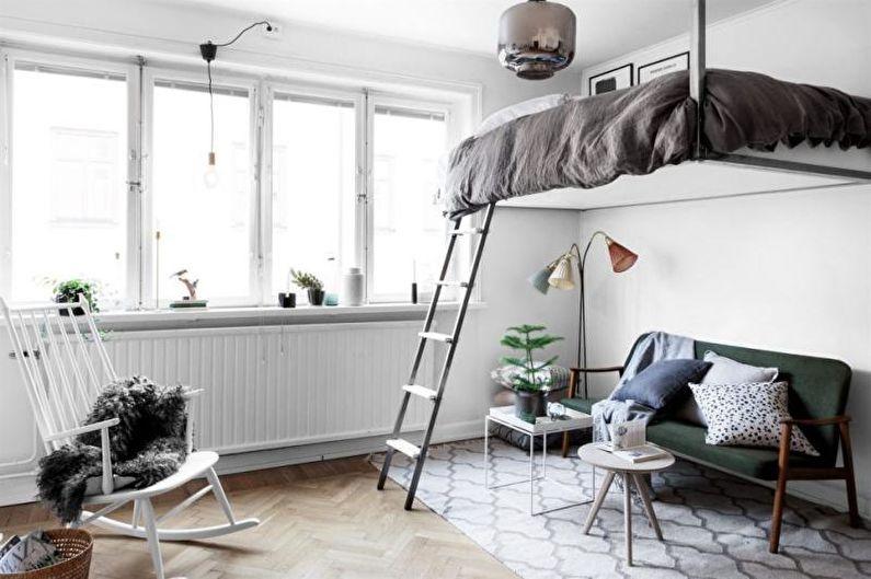 Conception d'un appartement d'une pièce de 33 m².  - Lit mezzanine