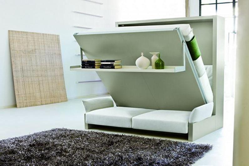 Conception d'un appartement d'une pièce de 33 m².  - Meubles-transformateurs
