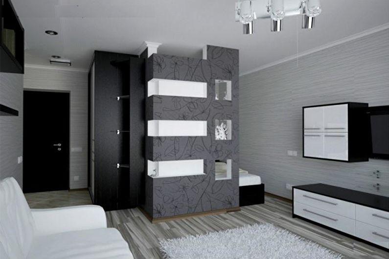 Conception d'un appartement d'une pièce de 33 m².  - Armoires encastrées