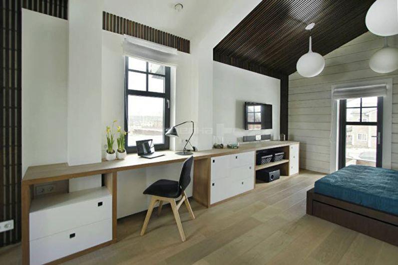 Conception d'un appartement d'une pièce de 33 m².  - Rebord de fenêtre au lieu d'une table
