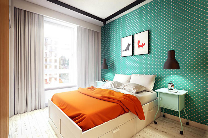 Chambre turquoise dans un style moderne - Design d'intérieur