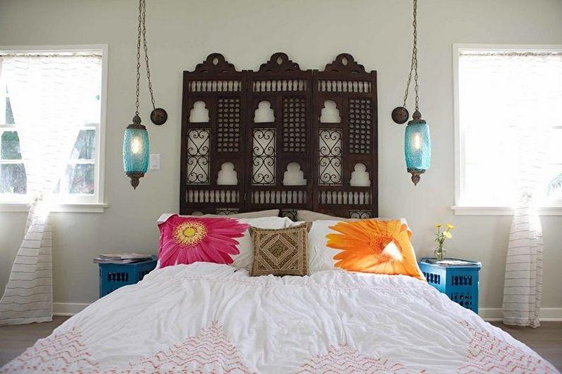 Chambre de style méditerranéen turquoise - Design d'intérieur