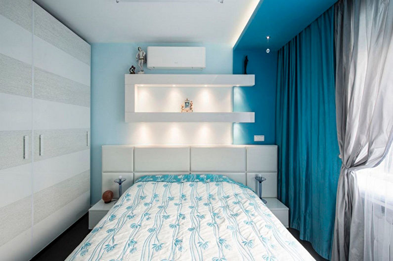 Chambre minimaliste turquoise - Design d'intérieur