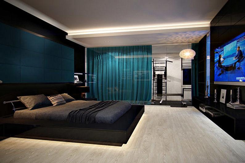 Chambre à coucher turquoise high-tech - Design d'intérieur